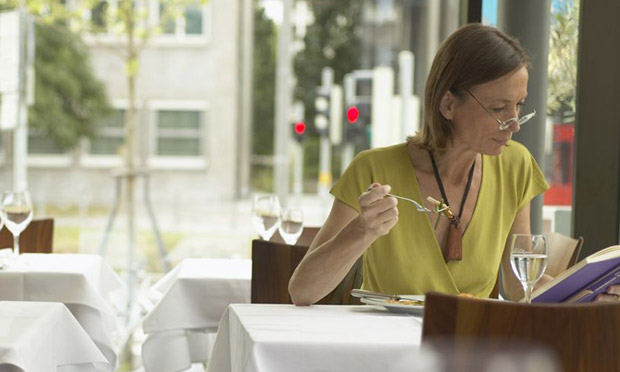 A woman dining alone