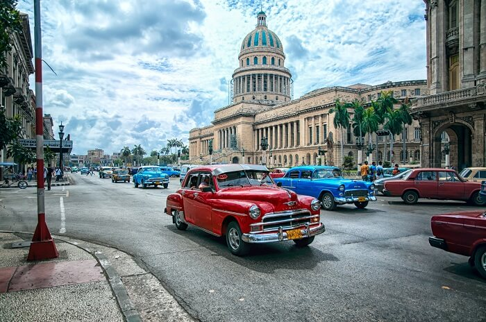 retro cars on the road in Havana