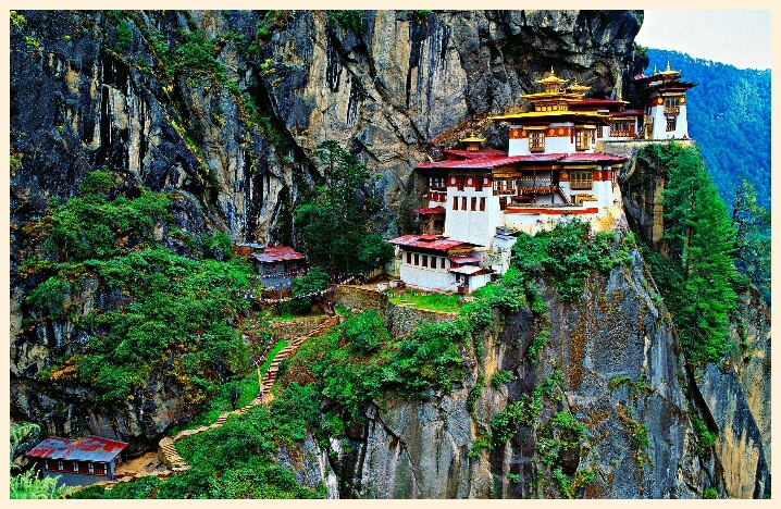 monastery on a mountain in Bhutan tibet