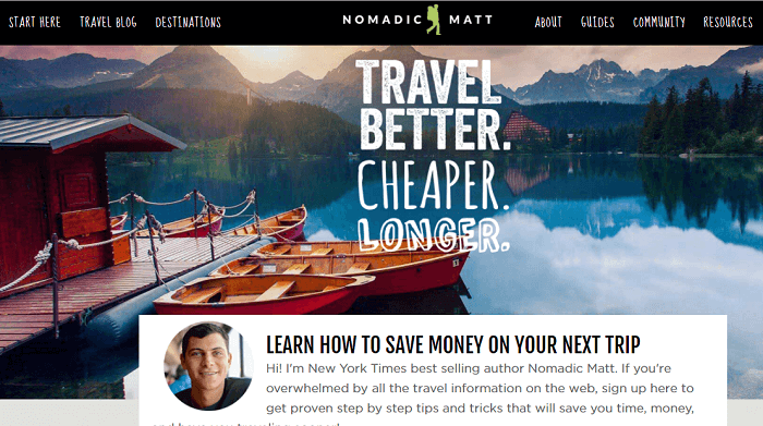 Nomadic Matt's Travel Site website screenshot