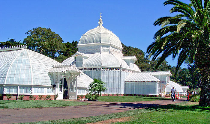 close up of conservatory of flowers