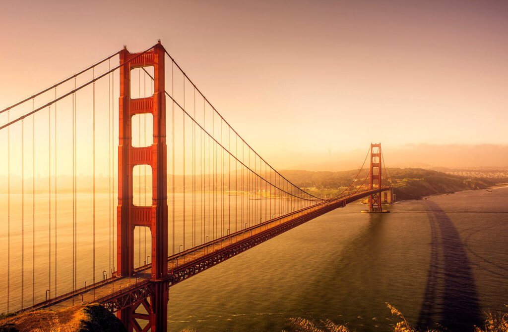 Golden Gate Bridge view during sunrise