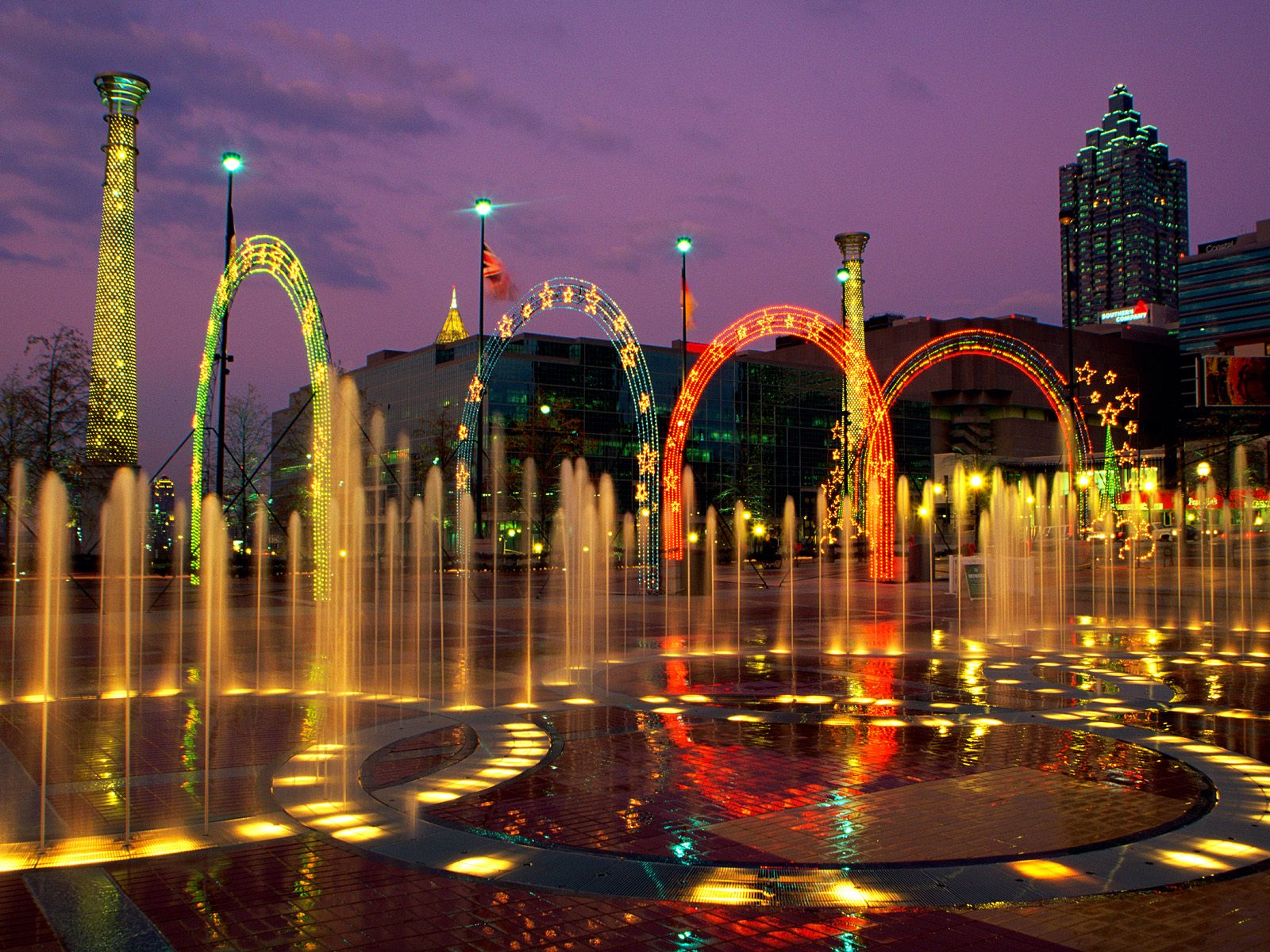 Fun things to do in Atlanta include the colorful fountains