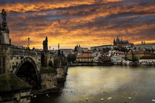 view over the Charles Bridge in Prague