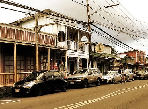 Victorian houses in Pahoa Hawaii main street
