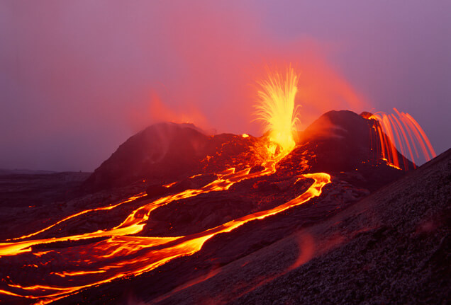 eruption of Kilauea volcano near Pahoa Hawaii