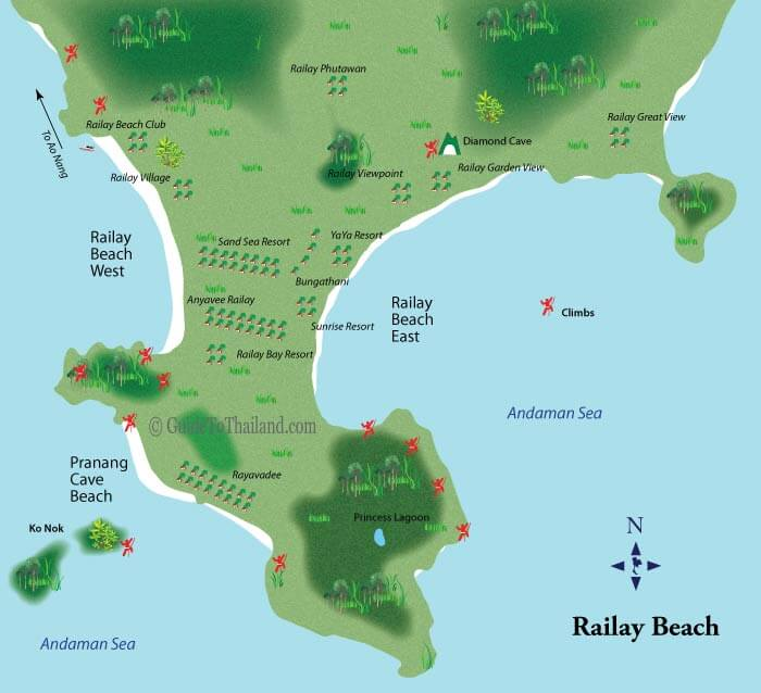 Railay beach Thailand map with main attractions
