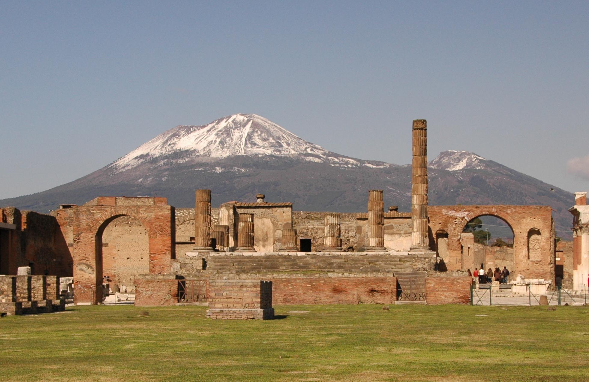 view of vesuvius over pompeii ruins
