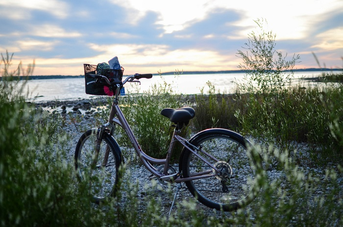bike on the shore of Mackinac Island