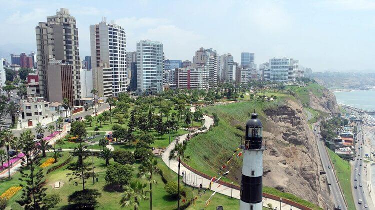 aerial view of Lima, Peru