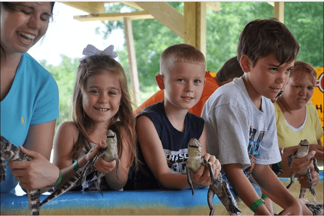 kids holding baby gators at the Insta-Gator Alligator Ranch & Hatchery