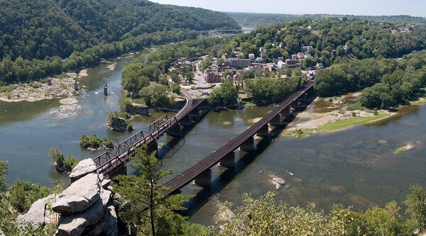 Panoramic view of Harpers Ferry
