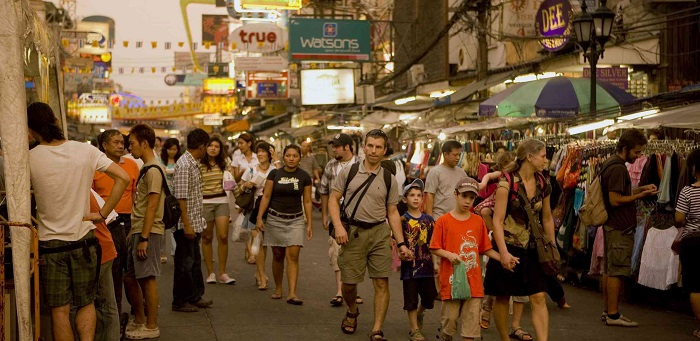 tourists walking on the Khao San Road, Bangkok
