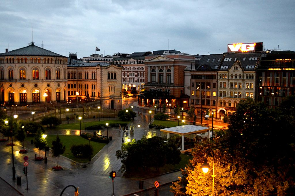 Karl Johan gate at night Oslo Norway