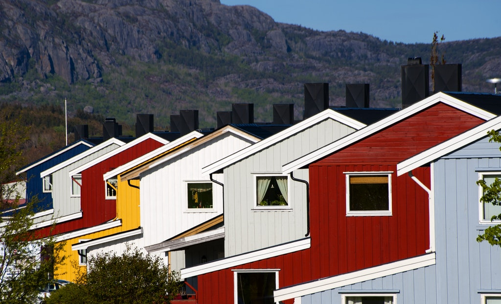 row of colored houses in norway